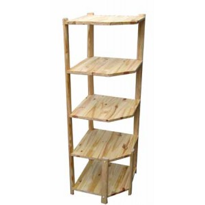 Etagere d 39 angle en pin for Cometagere angle baignoire
