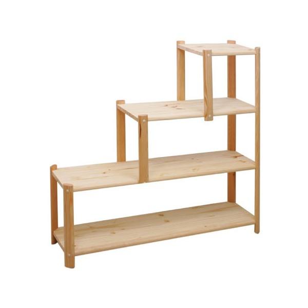 Kit etagere rangement en forme d 39 escalier h96 l100 p26 5 - Meuble en forme d escalier ...
